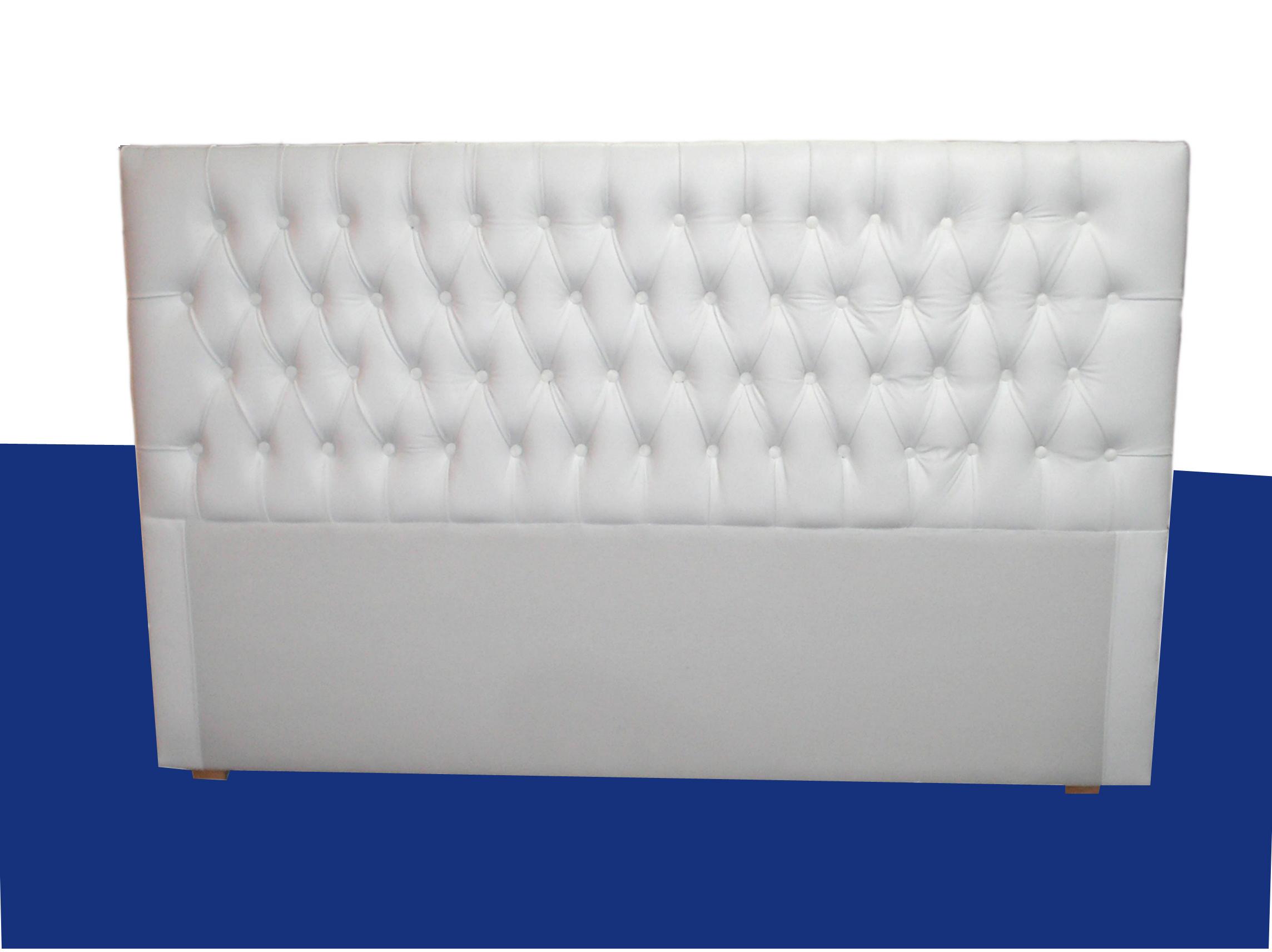 Respaldo cama Capitoné Clásico en pana blanca por arriba altura somier.
