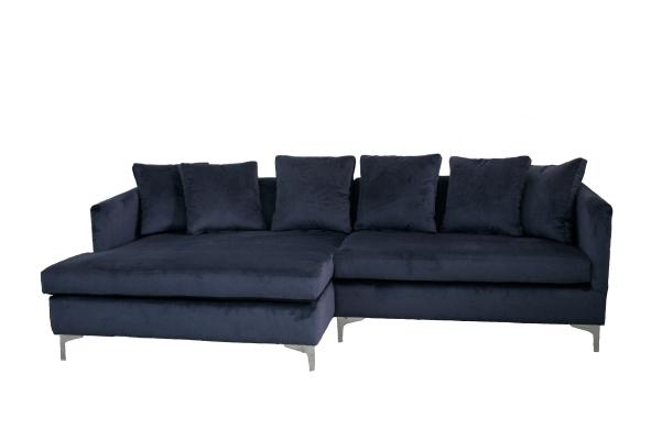 Esquinero azul cuadrado: brazo fino, almohadones en placa calidad soft intermedio estilo bombe cubierto con guata y lienzo interno, almohadones de respaldo tapa y tapa en vellón siliconado e interior de lienzo medida 2.50 metros x 1.80 metros.