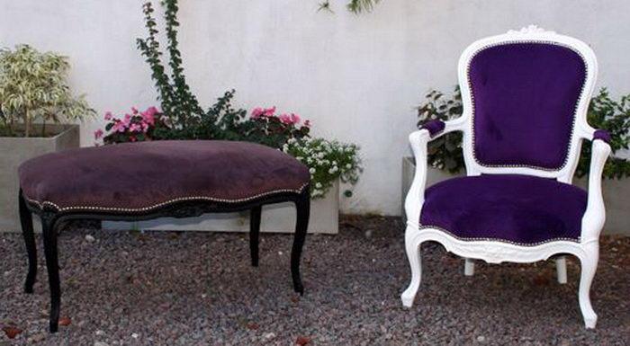 Retapizado de banqueta a nuevo con tachas plateadas o niqueladas madera restaurada a nueva pintada de color negro. Retapizado de sillón Luis XV  con tachas plateadas o niqueladas madera restaurada a nuevo y pintada blanca.